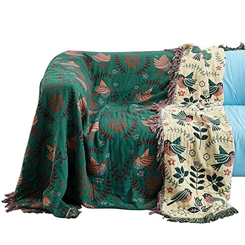 laamei Funda de Sofá de Algodón Fundas de Manta Sofás Funda de Sofá o Colcha Manta Sofá Sillón Manta de Cama Manta de Dormir Multiusos Moderna(Verde,200×230cm)