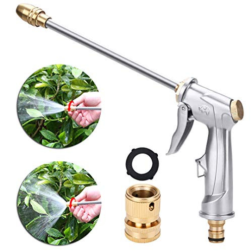 niahode Garden Hose Nozzle, Heavy Duty Metal Spray Gun, 360° Rotating Water Adjustment High Pressure Leak Proof Pistol Grip Sprayer for Car Washing,Plants Watering,Pets Shower,Cleaning(Long, Silver)