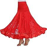 Mujer Profesional Falda de Encaje Grande Vestido de Baile De Flamenco Tango Salsa Latin Talla única Rojo