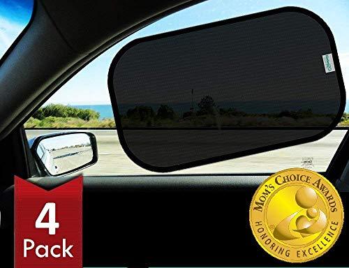 Kinder Fluff Car Window Sunshades (4X)-The Only Certified Sunshade to Block 99.79% UVA & 99.95% UVB -Mom's Choice Gold Award Winner- 120GSM & 15S Static Film Sun Shades
