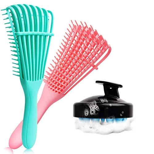 3 Pack Detangling Brush Set, Detangler Brush for Natural Black Hair Curly Hair, Dry and Wet, Hair Scalp Massager Shampoo Brush, Hair Detangler for Afro America 3A to 4C Wavy/Coily/Oil/Thick/Long