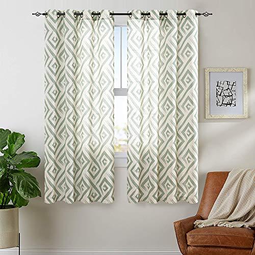 "Ogee Tile Square Linen Textured Drapes Printed Curtain Panels Bedroom Living Room Lattice Window Treatment 2 Panel Drapes 63"" L Sage"