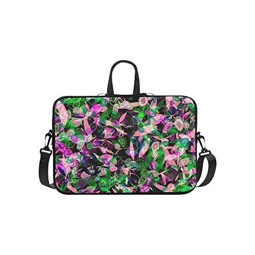 15.6″Durable Hombro Mensajero Bolsa maletín PC Textura Transparente Floral con Pétalos Estilizados Verde Moda Impermeable Ordenador Portátil/portátil/Tablets