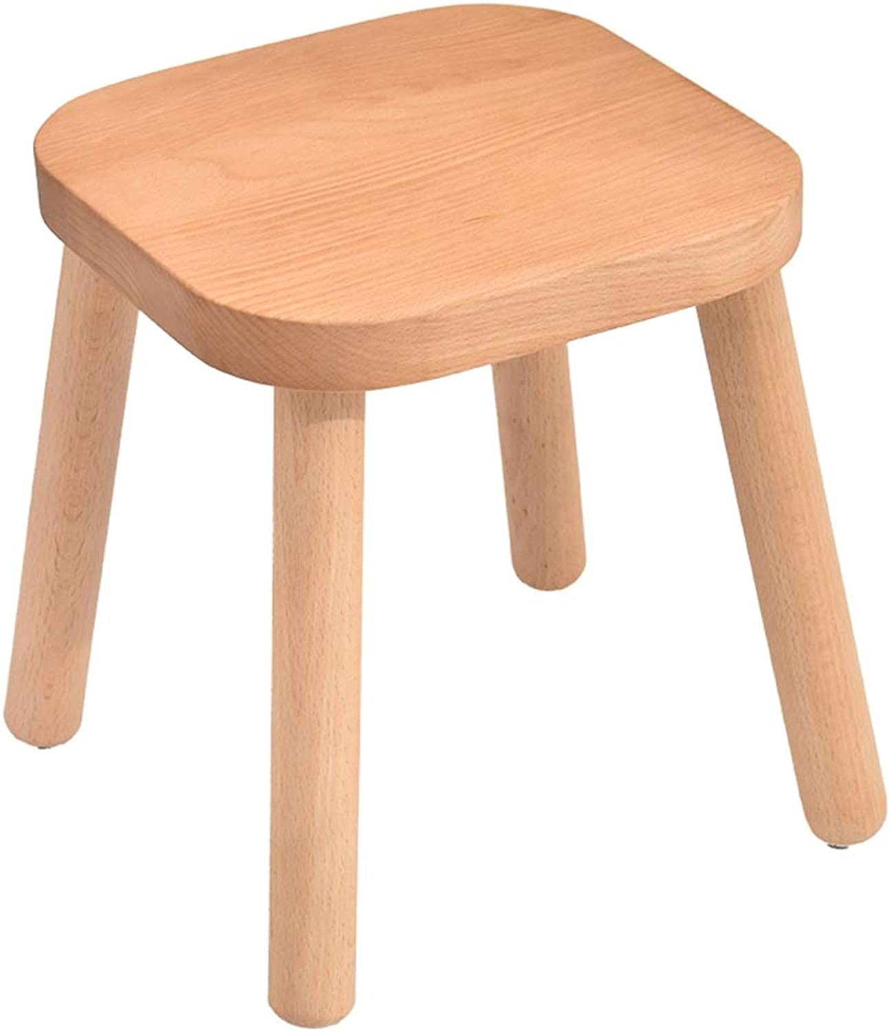 ZHANGQIANG Wooden Footstool, Natural Wooden Footrest, Flower Stand Walnut (color   Wood color, Size   26  26  29 cm)
