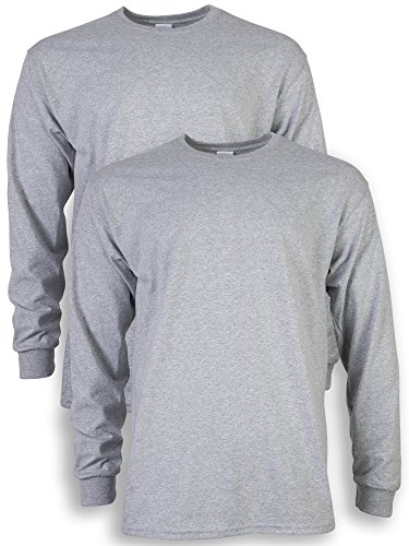 Gildan Men's Ultra Cotton Adult Long Sleeve T-Shirt, 2-Pack, Sport Grey, Large