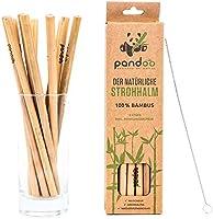 pandoo 12-pack sugrör av 100 % bambu innehåller rengöringsborste | återanvändbara och miljövänliga sugrör | 100 %...