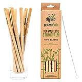 pandoo Confezione da 12 cannucce di bambù 100% con pennello di pulizia - cannucce riutilizzabili ed eco-compatibili - 100% biodegradabile