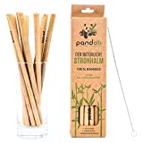 Pandoo Paquete de 12 pajitas 100% de bambú, incluido cepillo de limpieza - pajitas de beber reutilizables y ecológicas - 100% biodegradable