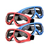 4 Pack Protective Glasses Safety Goggles Eye Shield, Face Glasses for Kids Eye Protection Goggles Compatible with Nerf Guns Foam Blaster Guns Game (Blue & Red)