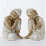 CasaJame Juego de 2 figuras de Buda sentadas de resina (12 x 11 x 18 cm), color blanco y dorado...