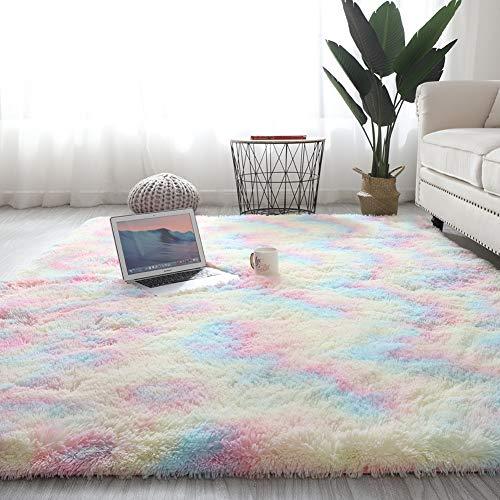 Wongfon tapis arc-en-ciel pour chambre de filles, tapis colorés moelleux modernes tapis de sol mignons, tapis de jeu Shaggy pour enfants bébé filles chambre chambre d
