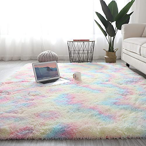 Wongfon Rainbow Area Teppiche für Mädchen Zimmer, moderne flauschige bunte Teppiche niedliche Bodenteppiche, Shaggy Spielmatte für Kinder Baby Mädchen Schlafzimmer Kinderzimmer Home Decor