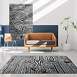 CCTYJ Patrón de Cebra en Blanco y Negro impresión Digital Moderno Dormitorio Antideslizante Interior Sala de Estar sofá Alfombra Decorativa-Los 80x120cm Alfombra económica con diseño Moderno para el