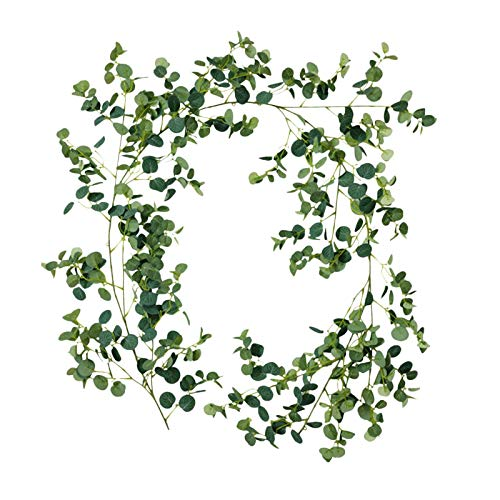YJYQ Artificial Eucalyptus Leaves Twined Garland, Artificial Hanging Leaves Vines For Wedding Birthday Greenery Indoor Outdoor Decoration