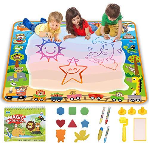 lenbest Tappeto Magico Doodle Grande100×100cm, Animale Acqua Magico Doodle Mat, Acqua Disegno Tappetino per Bambini, con 4 Penne Magiche, 1 Set di Rulli, 1 Libretto di Disegni e 8 Stampi
