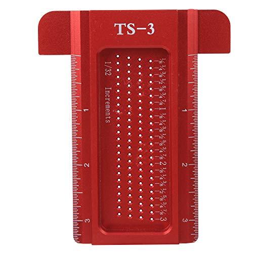 Herramienta de medición Calibre de línea Escala precisa Agujero de carpintería Marcaje de regla Regla T Calibre de trazador Tipo T para marcar el posicionamiento(red)