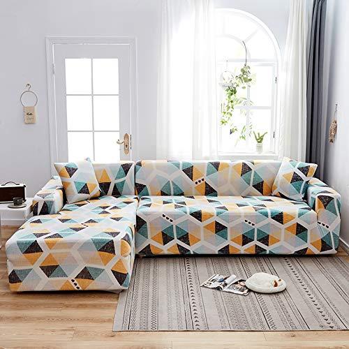 WXQY Funda de sofá Floral para Sala de Estar, Funda de sofá reclinable elástica, Funda de sofá elástica, Funda de sofá en Forma de L, Toalla de sofá A8 de 4 plazas