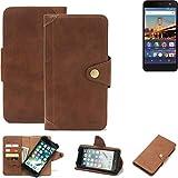 K-S-Trade® Handy-Hülle Für General Mobile 4G Schutz-Hülle Walletcase Bookstyle Tasche Handyhülle Schutz Case Handytasche Wallet Flipcase Cover PU Braun (1x)