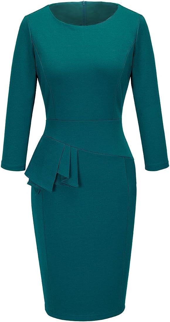 HOMEYEE Women's Chic Wear to Work Crew Neck Pencil Dress B228