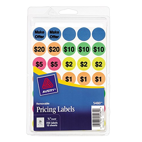 Avery Preprinted Removable Garage Sale Labels, 0.75 Inches, Round, Pack of 350 (5480),Assorted Neon