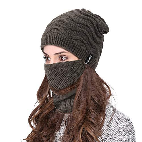 VBIGER Wintermütze Strickmütze Warme Beanie Winter Mütze und Schal mit Fleecefutter für Damen und Herren (Braun) …
