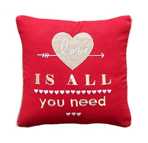 Valentine Taie d'oreiller, motif cœur, Rouge et lin Combinaison