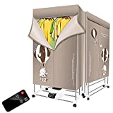 KOFOHON Household Folding-Dry Machine Foldable Clothes Dryer 110v-240v Electric Portable with Remote Control Adjustable Timer Low Noise for Home,Laundry,Apartment 1500W(Grey-Elephant)