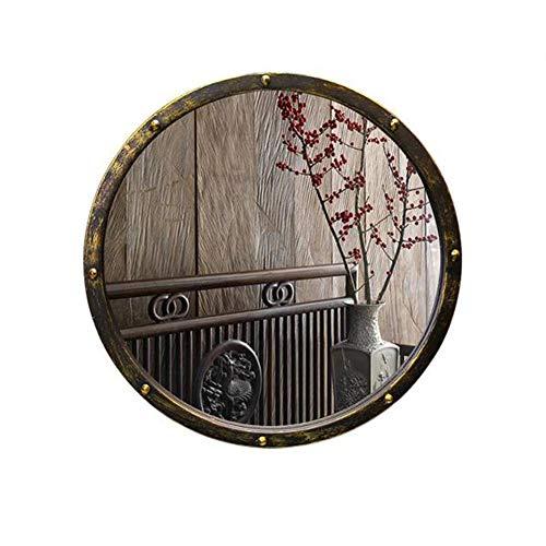 Espejos De Pared para Sala De Estar Antiguo, Espejo De Lavabo Vintage Grande De Hierro Forjado, Espejo De Vanidad De Baño Redondo De Arte Chino, para Baño De Casa, Dormitorio, Bar