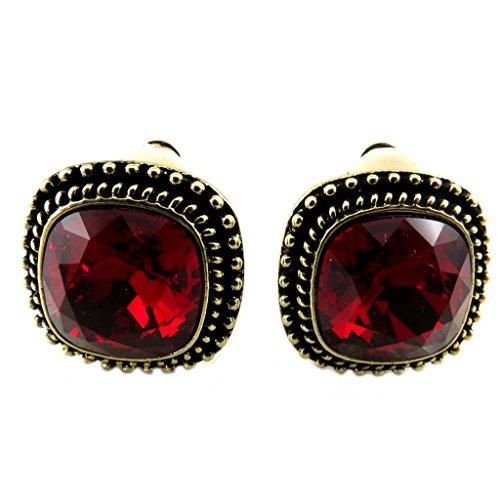 Lily-Crystal [P7536] - Clips artisanales 'Bohème' rouge doré - 17x17 mm