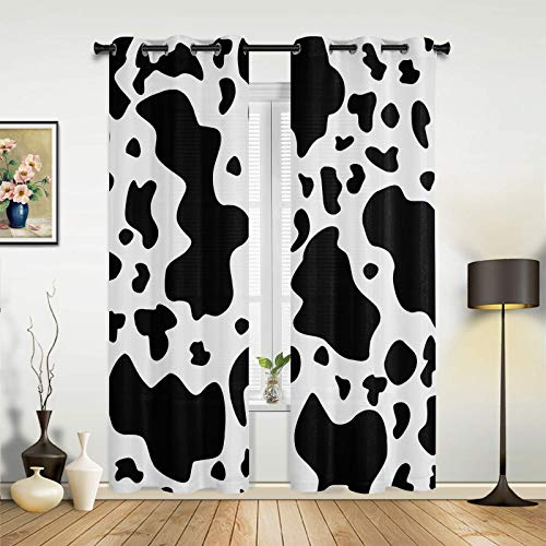 COLORSUM 2 Panels Bedroom Blackout Curtains with Grommets Milk Cow Black White Farm Animal Print Thermal Insulated Darkening Curtain Panels for Bedroom 27.5  W x39 L x2