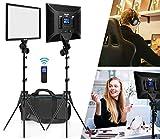 Switti LED Video Light, Video Lighting Kit with Wireless Remote, 2-Pack Dimmable Bi-Color LED Panel Light, 3000K-8000K/CRI 96+ Studio Light for Photography/Live Stream/YouTube Video