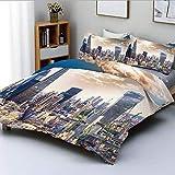 Juego de funda nórdica, imagen aérea del distrito moderno de Londres, arquitectura famosa, cielo dramático en Inglaterra Juego de cama decorativo de 3 piezas con 2 fundas de almohada, azul marfil, bla