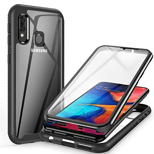 ivencase Hülle Kompatibel mit Samsung Galaxy A20e, 360 Grad Stoßfest Cover Handyhülle mit eingebautem Displayschutz