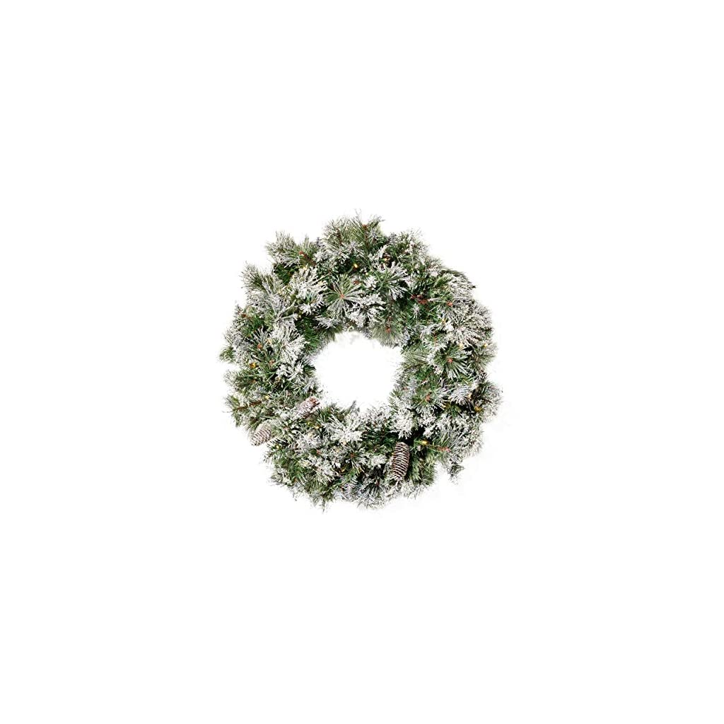 Christopher Knight Home 307397 24″ Mixed Spruce Christmas Wreath w/50 Warm White LED Lights, Flocked Snow and Glitter Branches, Pinecones – Battery-Operated, Timer Included, Green