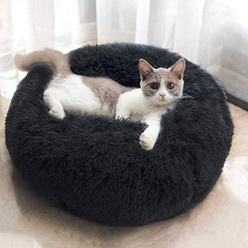 Monba Abnehmbares Hundebett mit rundem Kissen, waschbar, niedliche Katzen-Höhlenhöhle, wasserdichte Unterseite, rutschfest, für den Winter, warmes Schlafen, Hundebett