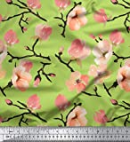 Soimoi Tessuto Chiffon di Viscosa Verde Tessuto Stampato Fiori Dell'Acquerello Pesca 1 Metro 42 Pollici di Larghezza