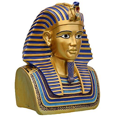 ZYBZYH Ornamento Egipcio, Busto De TutankamóN con Escultura De MáScara De Oro, Estatua De Resina Deco, JardíN Y Estatuilla De DecoracióN del Hogar