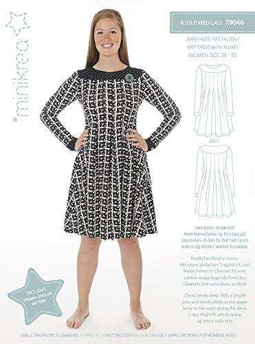 Minikrea Schnittmuster 70046 Damenkleid, Jerseykleid mit Falten Gr. 34-50