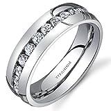 Peora Designer Titanium Eternity Ring for Women, Wedding Anniversary Cubic Zirconia Band, 6mm, Comfort Fit, Size