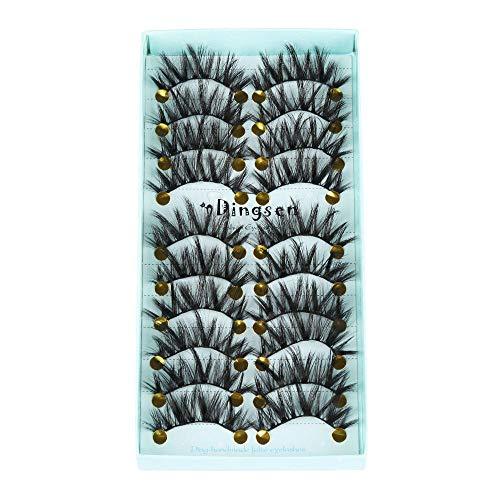 10 paires de cils artificiels 3D doux, entrecroisés cils velus et moelleux, outils de maquillage des yeux avancés-Style 11
