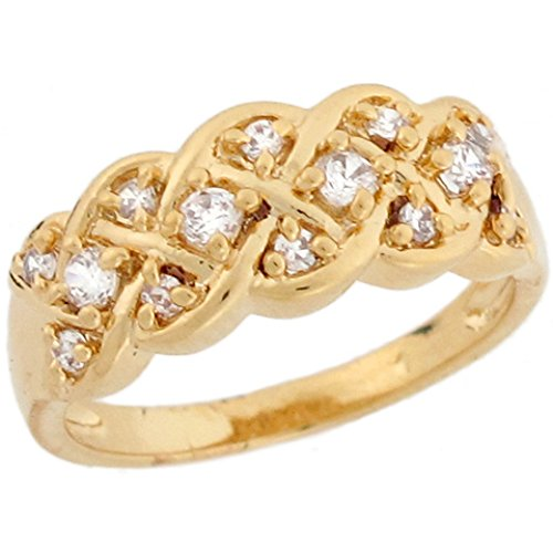 Jewelry Liquidation 14k Yellow Gold White CZ Celtic Woven Eternity Band Ladies Ring