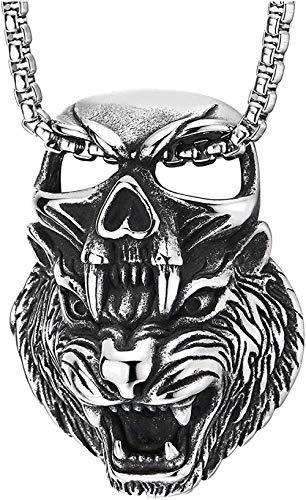 YOUZYHG co.,ltd Mens Acero Retro Rugido Cabeza de Tigre Castigo cráneo Collar Colgante Cuadrado Personalidad Collar Encanto