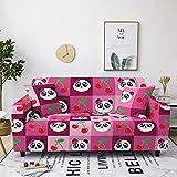 Fundas para Sofa 1 Plaza Elastica Panda Rojo Fundas para Sofa con Diseño Elegante Universal,Cubre Sofa Ajustables,Fundas Sofa Elasticas,Funda de Sofa Chaise Longue,Protector Cubierta para Sofá