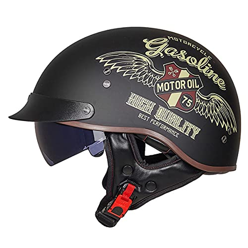 WUHX Casco de Cara Abierta Motocicleta Transpirable Motocicleta Casco Motocicleta Half Cascos con Visera Sun Vintage Harley Cascos Removibles 3/4 Helmet Jet Style Casco,9,M