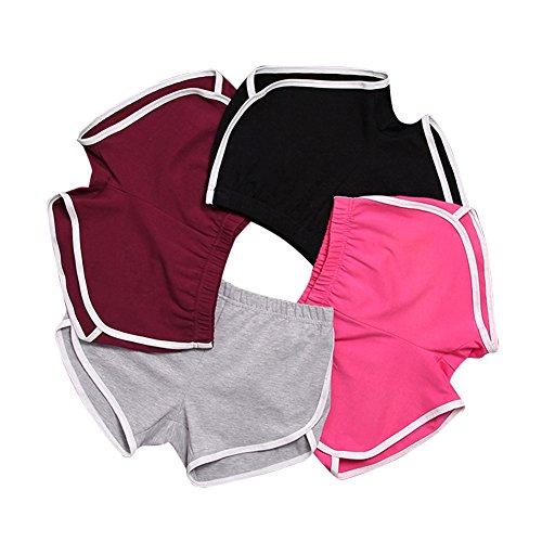 iMixCity Damen Sport Shorts Retro Shorts Aktiv Yoga Shorts Hose mit Farbig Abgesetzen Rändern (EU M=Tag XL(Taille: 62-66cm), 4 Stück)