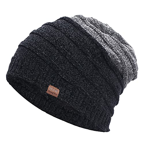 ManxiVoo Slouchy Beanie for Men Winter Hats for Patchwork Beanies Mens Lined Knit Warm Skully Stocking Hat (Black)
