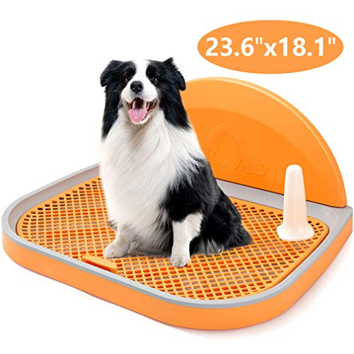 HIPIPET Puppy Dog Potty Tray 23.6''X18.1''X1.9'' Puppy Pad Holder with Removable Post and Wall Cover for Cats and Dogs Toilet (Orange)