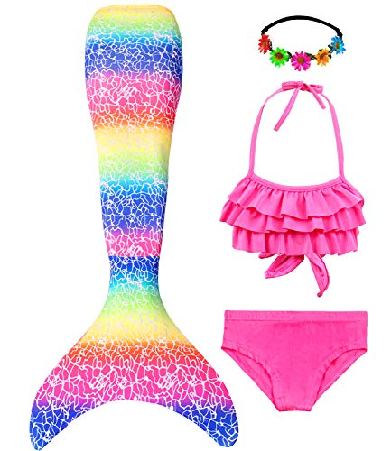 Mermaid Swimsuit for Girls, Mermaid Tails for Swimming, Swimmable Costume, Mermaid Bathing Suit Set No with Monofin