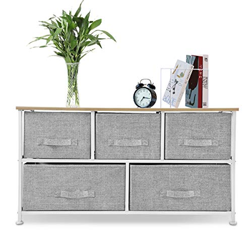 Bigroof Dresser Storage Organizer, Fabric Drawers Closet Shelves for Bedroom Bathroom Laundry Steel Frame Wood Top with Fabric Bins for Clothing Blankets Plush Toy (Light Grey-5 Drawers)
