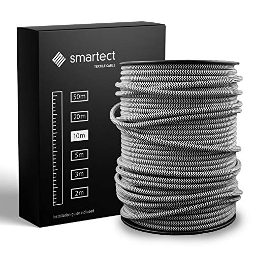 smartect Textilkabel Weiß Schwarz - 10 Meter Vintage Lampenkabel aus Textil - 3-Adrig (3 x 0.75 mm²) - Stoffummanteltes Stromkabel für DIY Projekt
